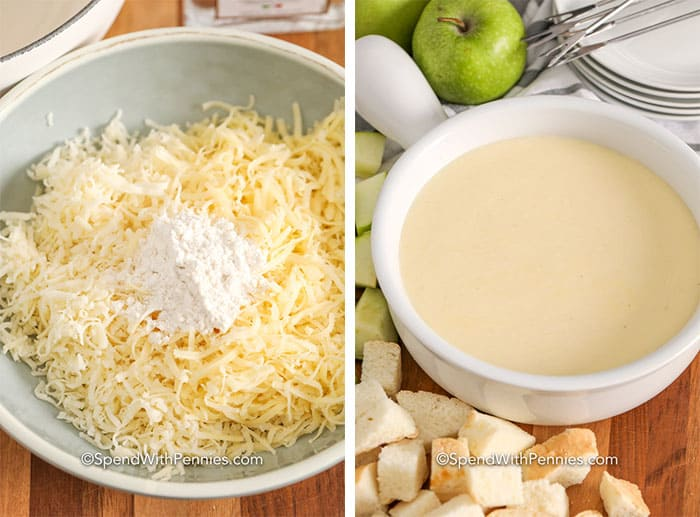Left image is shredded cheese and flour in a bowl and right image is cheese fondue in a bowl with bread and apples