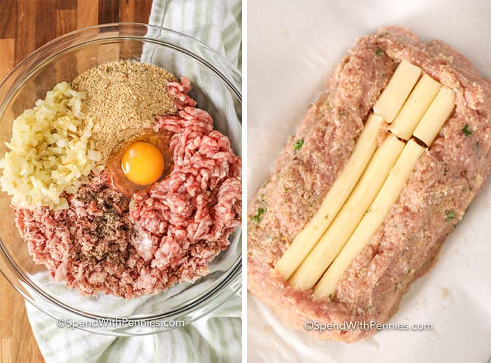 Raw ingredients for Chicken Parmesan Meatloaf in a glass bowl and on parchment