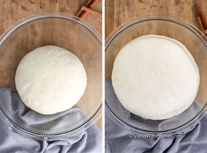 Cinnamon roll dough in a glass bowl before and after rising.