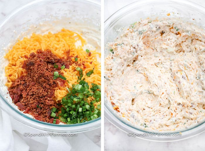 Two images showing crack dip ingredients in a glass bowl before and after being mixed.