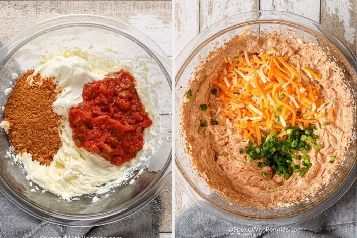 First ingredient shows cream cheese dip ingredients in a clear Bowl not mixed and second image shows cream cheese dip in a bowl with green onions and cheese