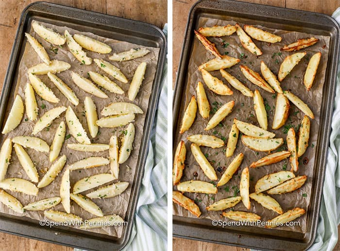 First image shows raw potato wedges on a sheet pan and second image shows crispy baked potato wedges on a sheet pan