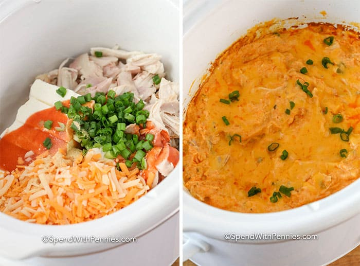 Two images showing the buffalo chicken dip ingredients in a crockpot before and after being cooked.