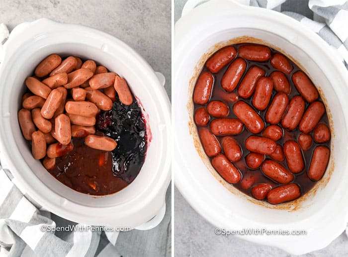 Two images showing the little smokie ingredients on a crock pot before and after being cooked.