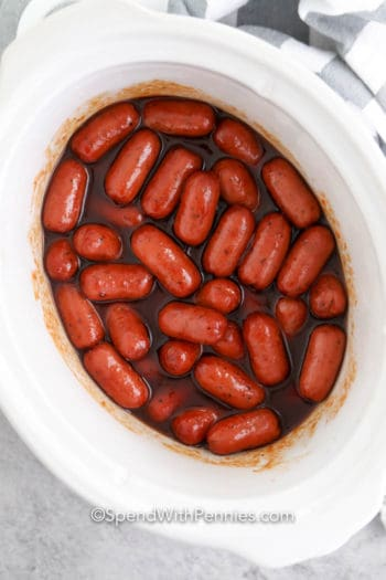 Crock-Pot little smokies in a white crock pot