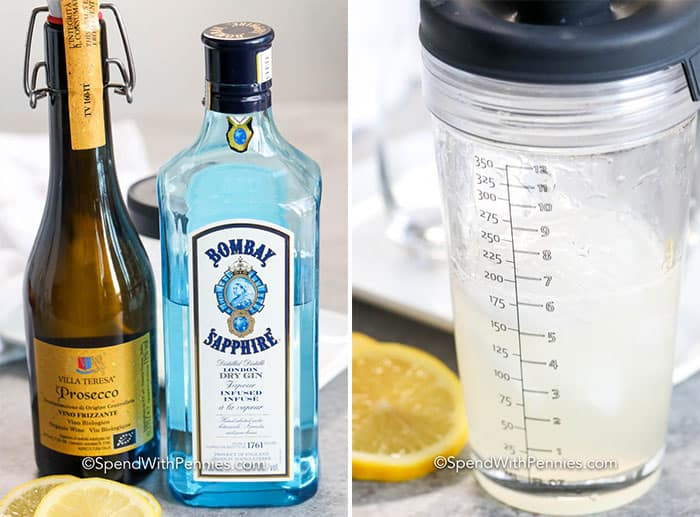 Ingredients for French 75 and French 75 in a glass measuring cup