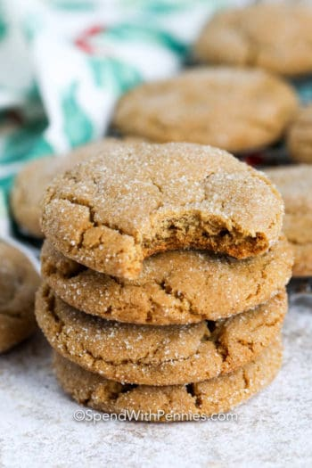 Stack of Ginger Snaps with one that has a bite taken out