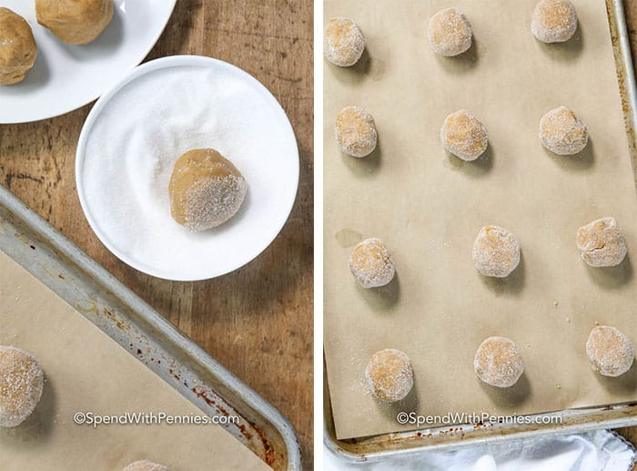 Two images showing the gingersnaps being rolled in sugar and then set on a baking tray.