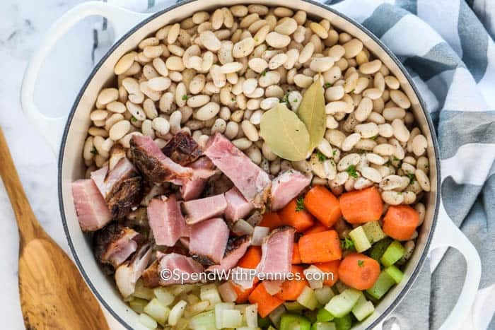Ingredients for Great Northern beans and ham in a pot