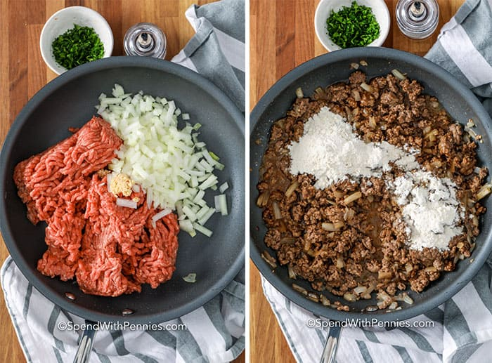 Left image - ground beef, onions, and garlic being cooked in a frying pan. Right image - flour being added to the browned hamburger mixture.