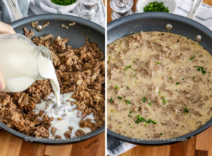Left image - milk being poured into a pan with browned hamburger and onions. Right image - hamburger gravy being thickened in a sauce pan.