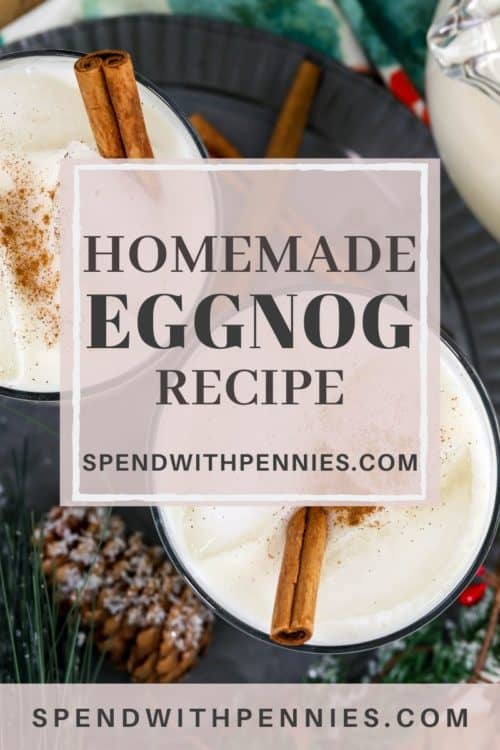 Overview of two glasses of eggnog served on ice with cinnamon sticks and sprinkled with cinnamon.