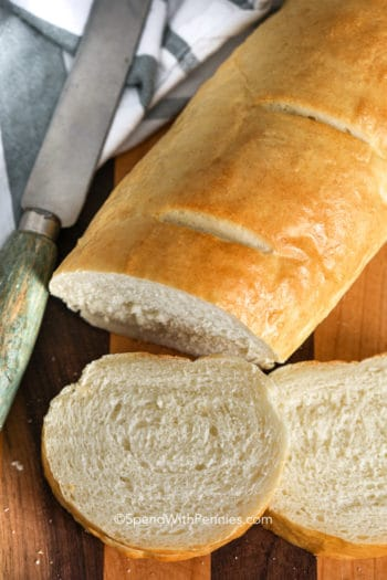 Homemade French bread on a wooden board