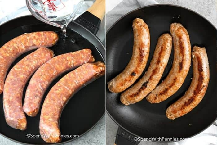 Italian sausage in a pan with water and being browned.