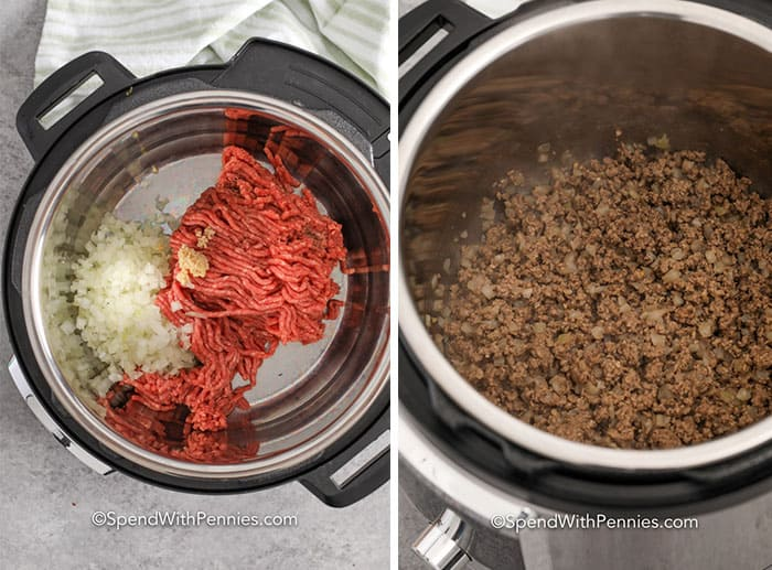 left image shows Raw meat and onions in an instant pot and right image shows cooked meat and onions in an instant pot