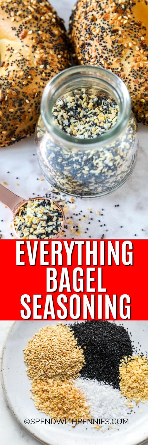 Ingredients for everything bagel seasoning on a plate and everything bagel seasoning in a jar with a title