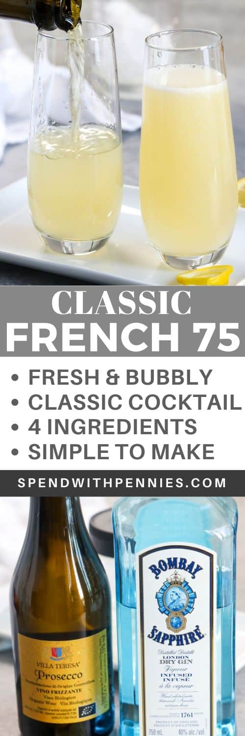 Ingredients for French 75 and French 75 in glasses with a title