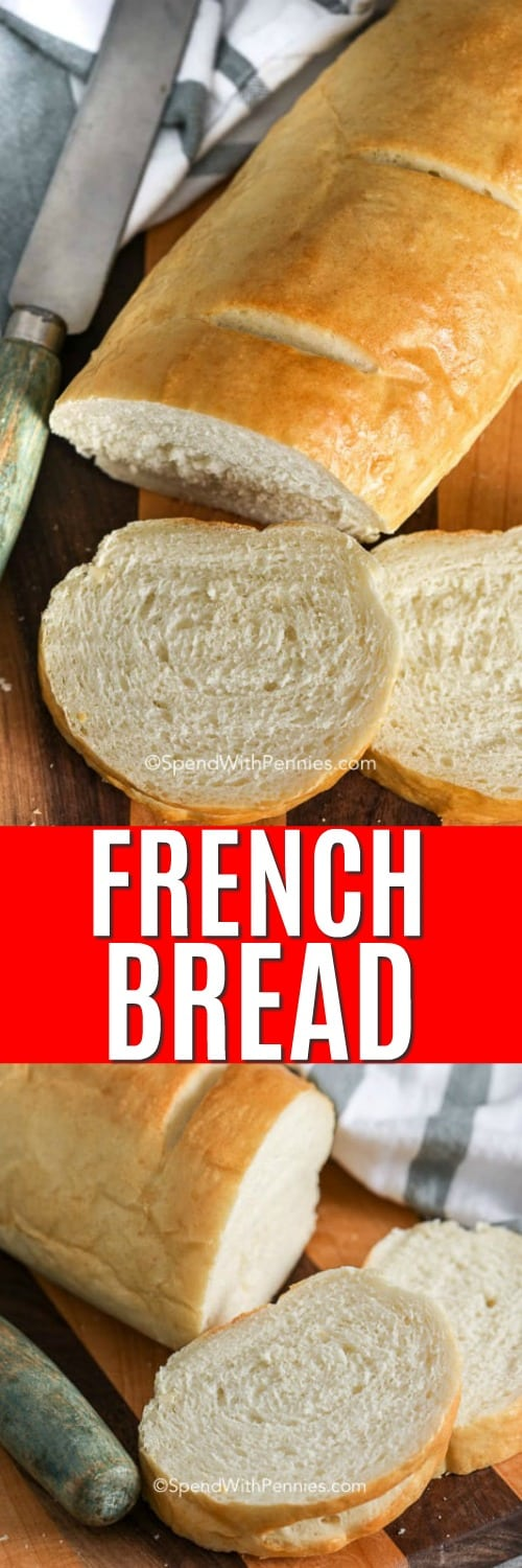 Slices of French bread on a wooden board with a knife and a title