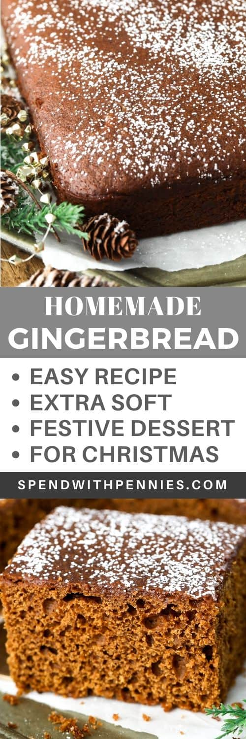 Piece of gingerbread on parchment paper and gingerbread with powdered sugar and a title