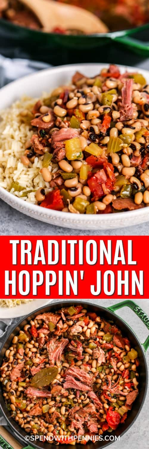 Hoppin John in a pot and Hoppin John on a plate with rice with writing