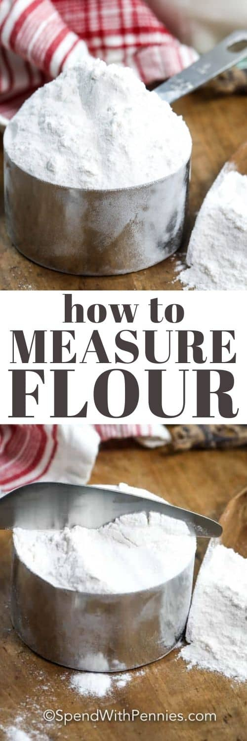 Flour in a measuring cup with a title