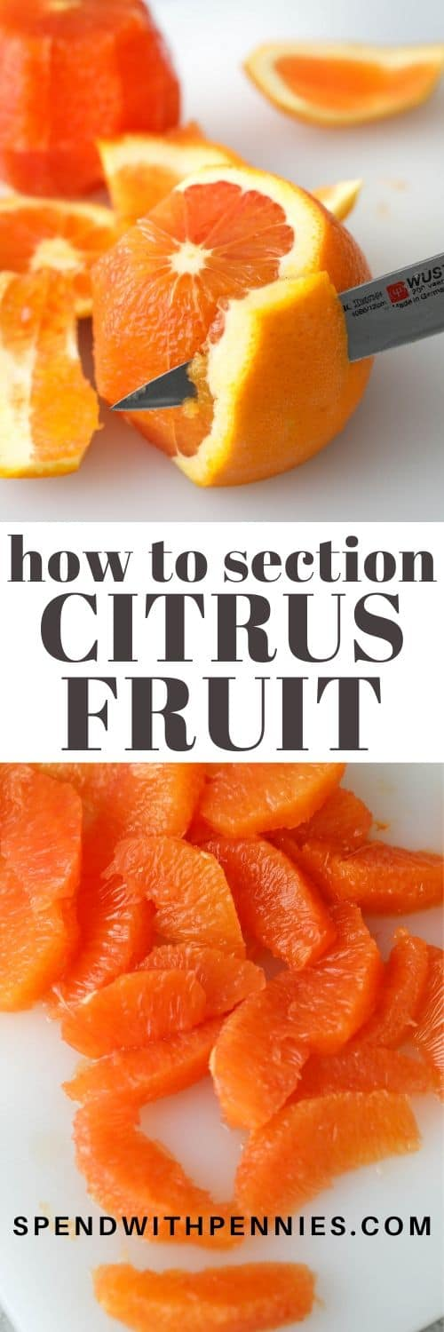 Sectioned citrus fruit on a cutting board and an orange with a knife and a title
