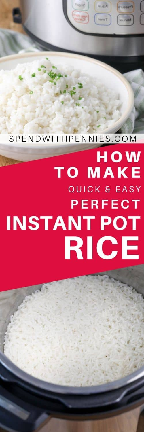 Raw rice in an instant pot and cooked rice in a bowl with a title