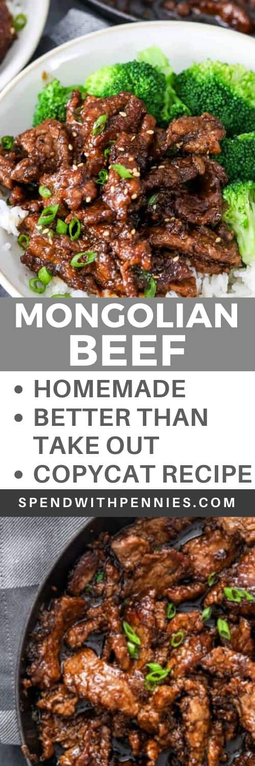 Mongolian beef in a pan and Mongolian beef in a bowl with broccoli and a title