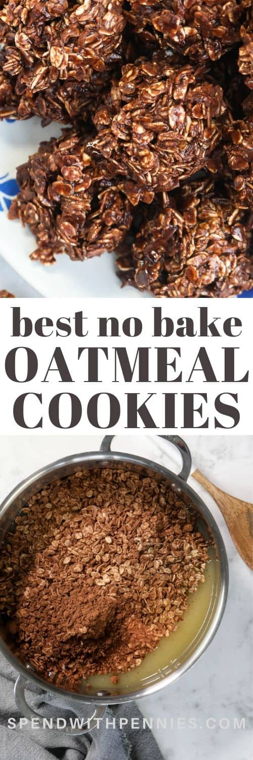 Top photo No Bake Oatmeal Cookies piled on a plate. Bottom photo - all ingredients assembled in a sauce pan.