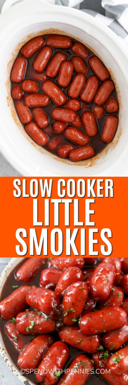 Top photo - Little Smokies in a slow cooker. Bottom photo - Little Smokies in a serving bowl.