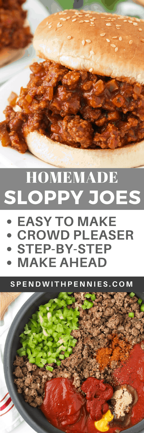 Ingredients for sloppy joes in a frying pan and a sloppy joe on a white plate with a title