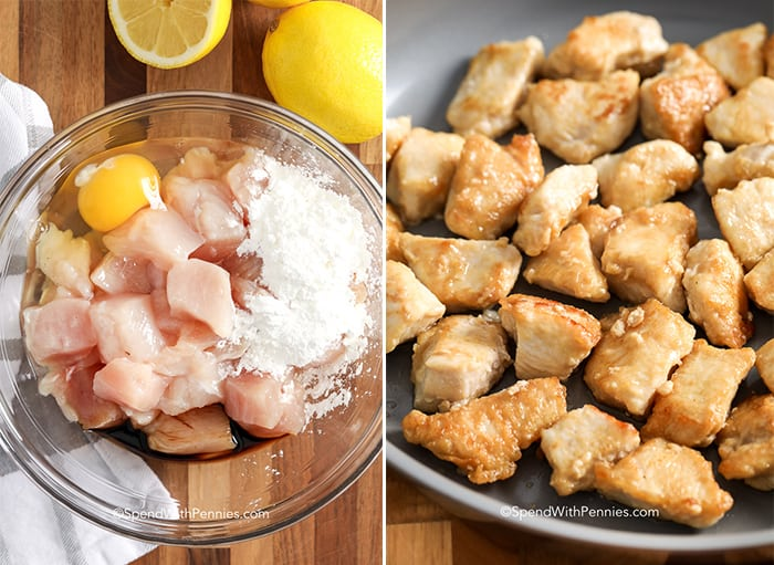 First image shows raw ingredients for lemon chicken in a glass bowl and second image shows cooked chicken in a frying pan for lemon chicken