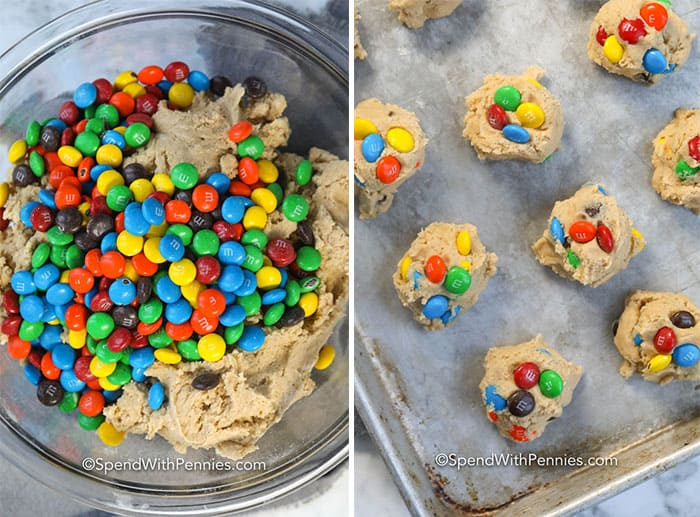 Left image - M&M Cookie batter with M&M being folded into it. Right image - M&M cookie balls on a baking tray.