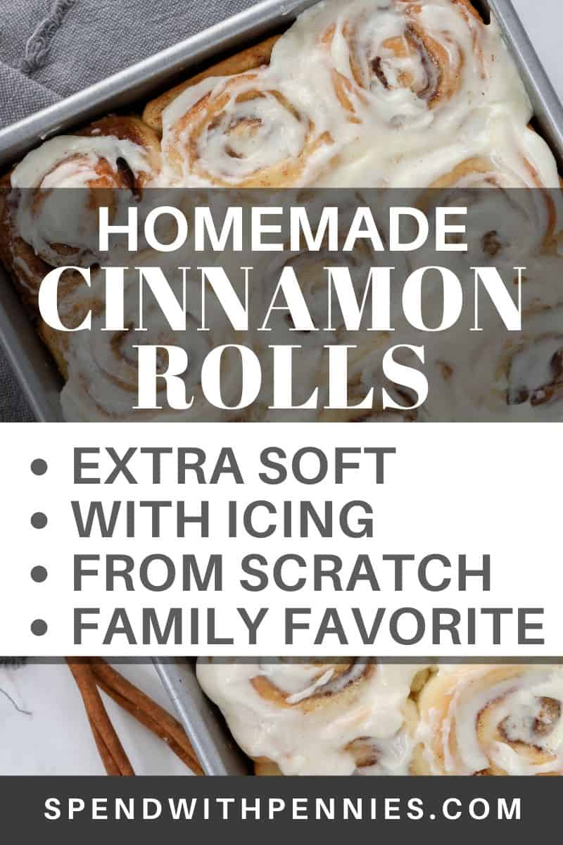 Homemade cinnamon rolls in a pan with a title