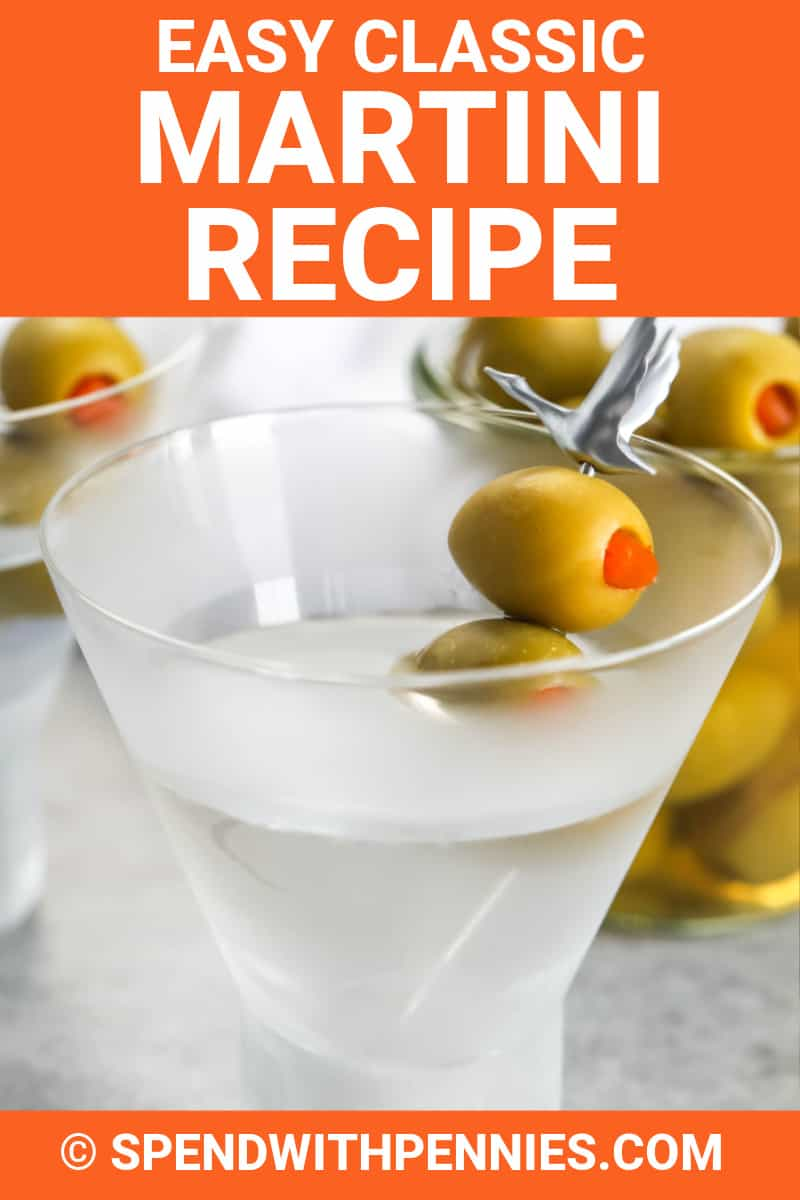 Classic martini in a glass with olives and a title