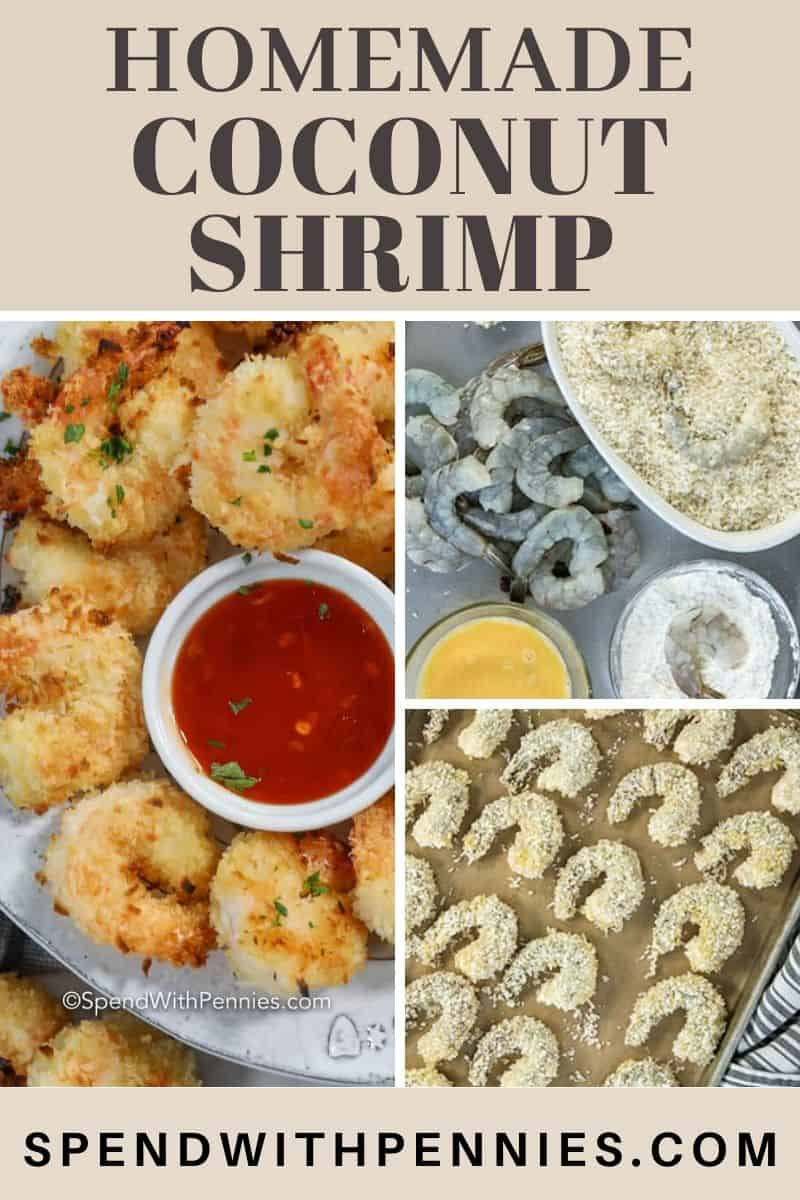 Raw shrimp being dipped in egg flour and bread mixture, raw shrimp on a baking sheet, cooked shrimp on a plate with a title
