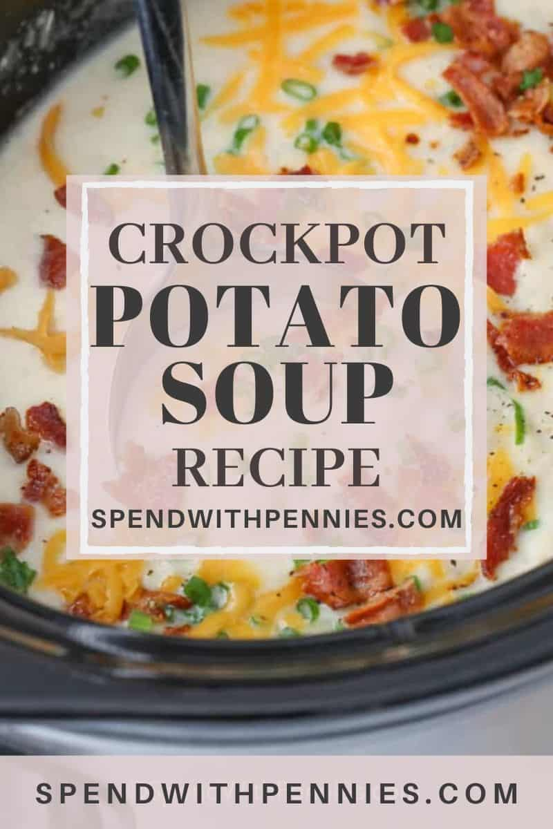 A ladle serving CrockPot potato soup made with bacon and green onions.