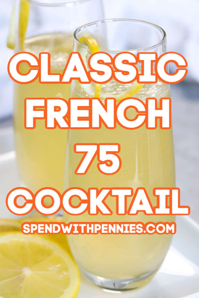 French 75 in glasses with a title