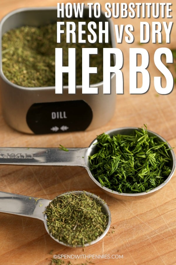 Herbs in measuring spoons and in a container with a title