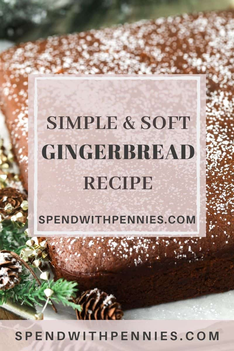 Gingerbread with powdered sugar and a title