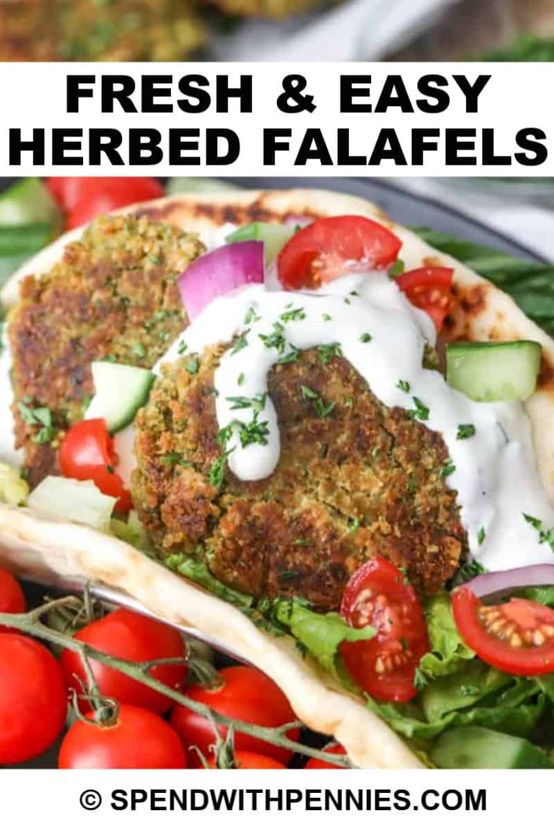 Two falafels on a bed of lettuce in a pita, topped with tomatoes, onions, and cucumbers.