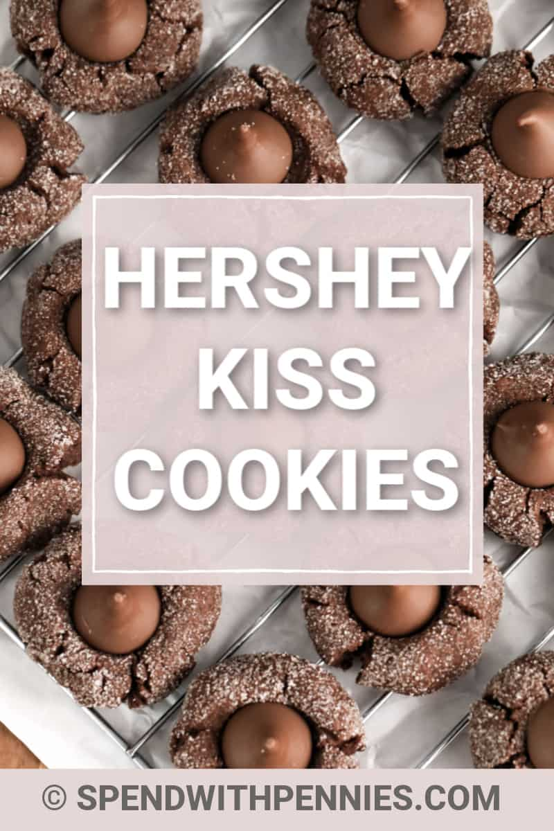 Hershey Kiss Cookies on a cooling rack.