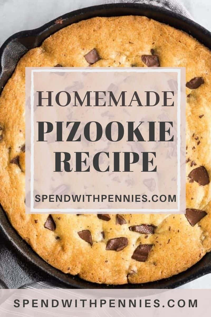 Homemade Pizookie in a pan with a title
