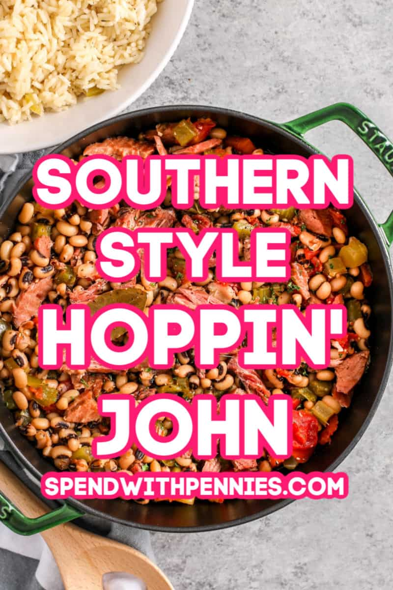Hoppin John in a pot with rice on the side with a title