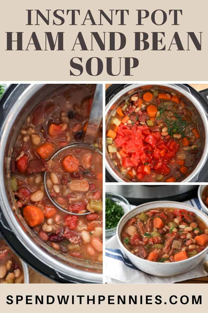 Left photo shows a serving of ham and bean soup being ladled out of an Instant Pot. Top right photo shows the ingredients in the Instant Pot, while the bottom right photo shows the ham and bean soup served in a white bowl.