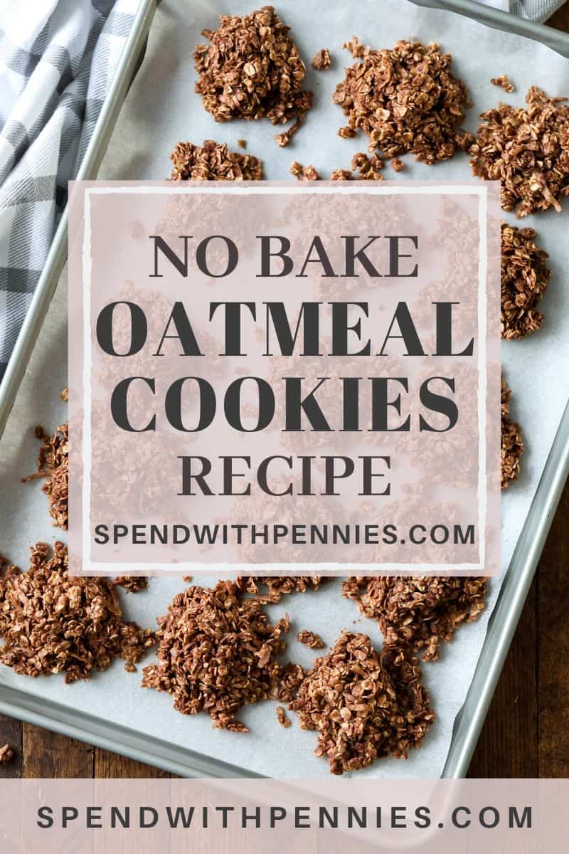 No bake oatmeal cookies on a baking tray lined with parchment paper.