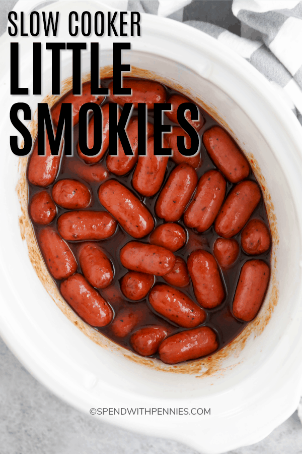 Little smokies in a crock pot after being cooked.