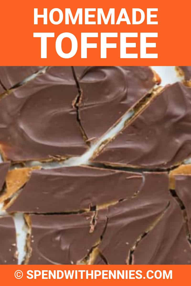 Homemade toffee with writing