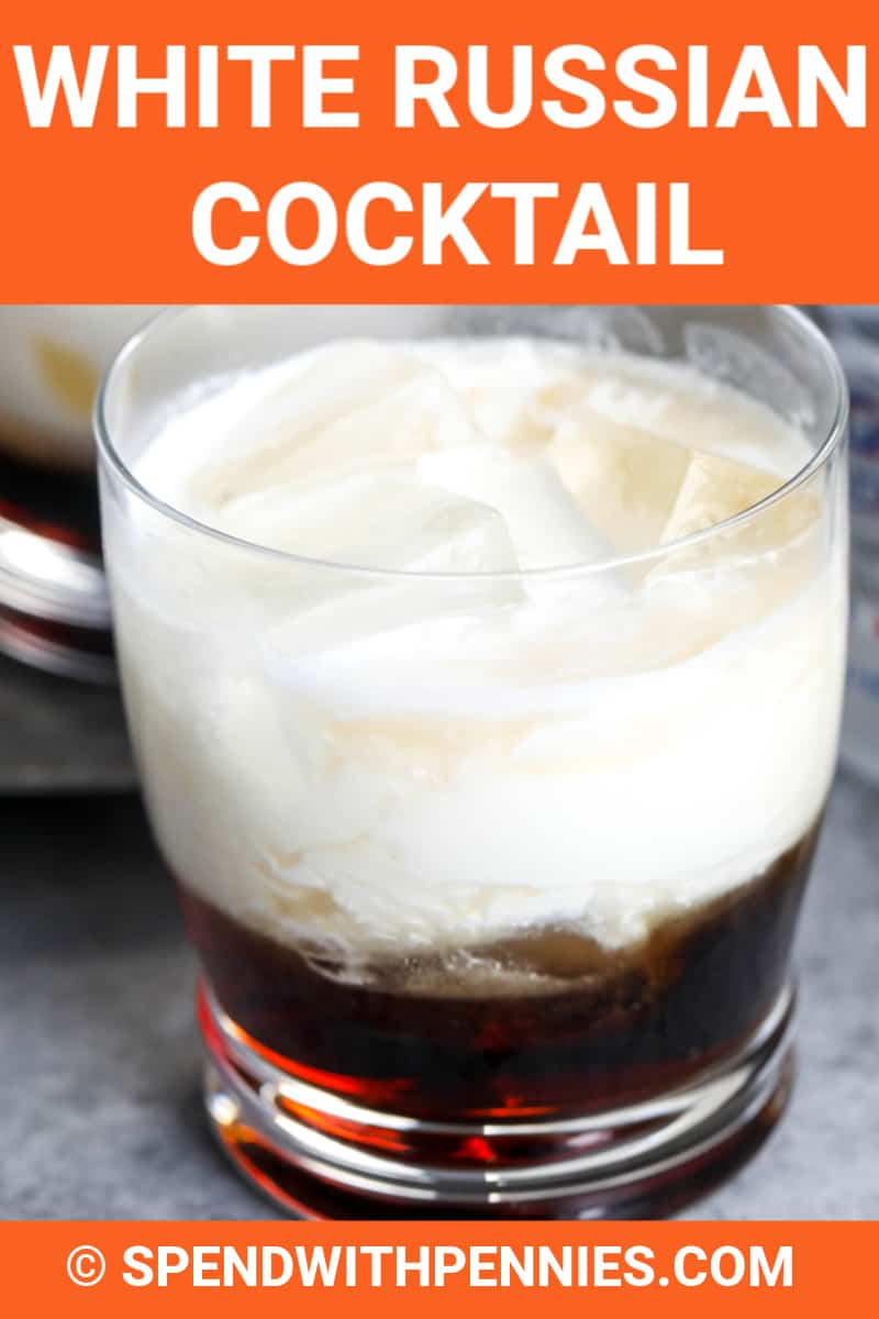 White Russian in a glass with writing