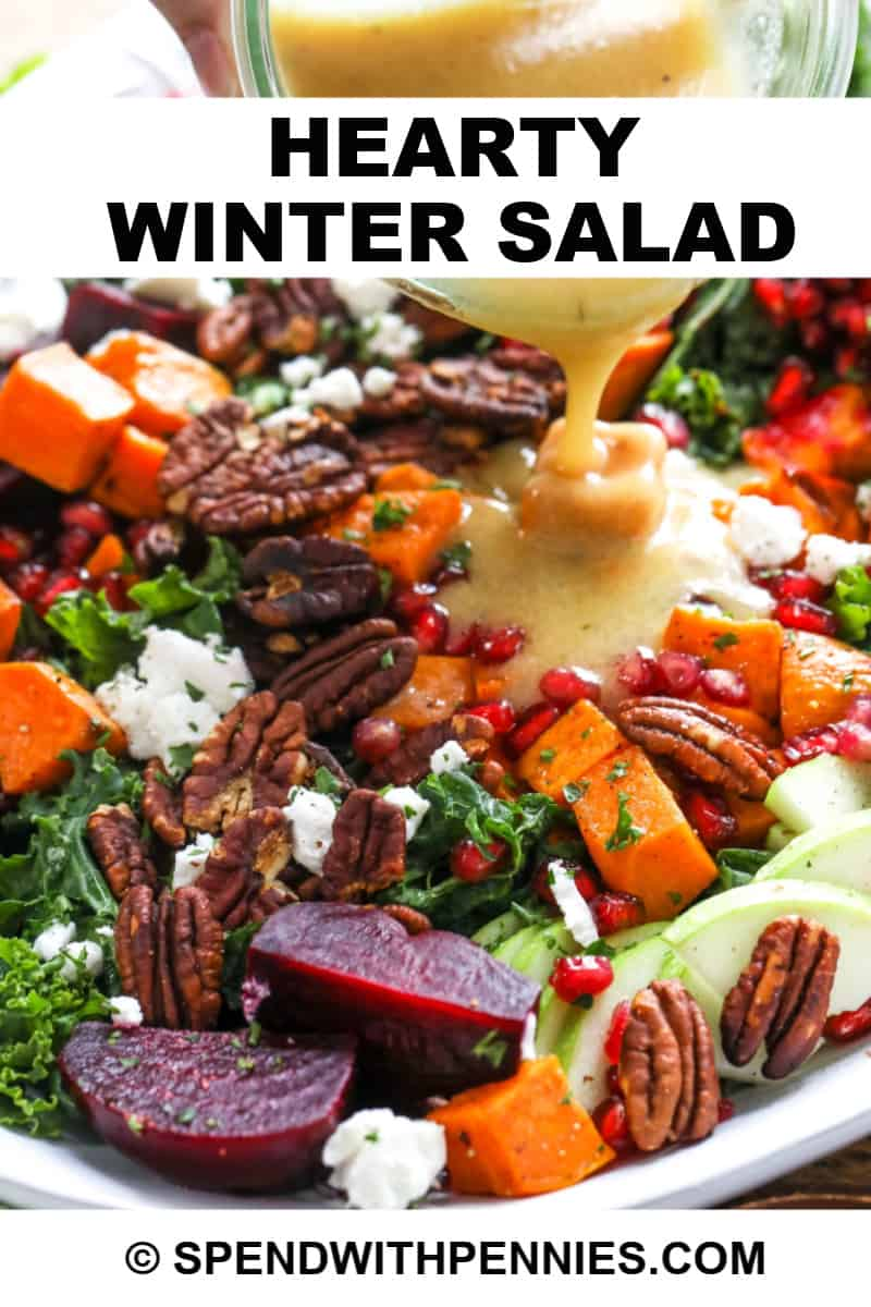 Winter salad in a bowl with dressing and the title